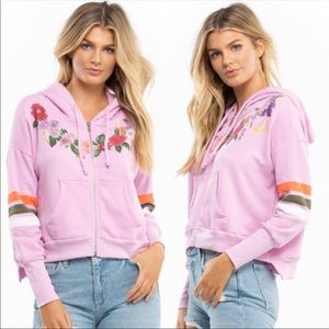 WILDFOX Pink Floral Oversized Theo ZIP Up Hoodie